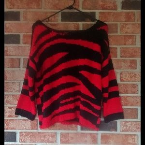 3/$20 Ruby Rd. Petite Red Black Striped Sweater PL